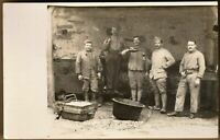 WW1 SOLDIERS MEAL TOAST LUNCH REUNION ORIG. WAR RPPC ANTIQUE PHOTO POSTCARD