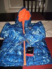 BOYS/GIRLS NIKE HOODED WINTER Jacket COAT Size 4  BLUE SWOOSH 1972 PRINT NWT