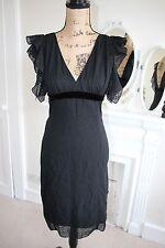 BNWT Ungaro Black Silk Heart Midi Dress 10 IT 42 Cap Sleeves RRP430 -70% Small