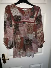 Mango Mng Long Sleeved Blouse Swing Top Size Small 10