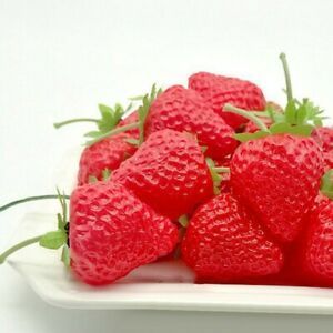 Artificial Plastic Strawberry Fruit Fake Display For Kitchen Bright Colors Safe