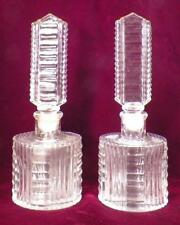 2 Art Deco Perfume Bottles Clear Glass Prisms Ribs Vintage Tall Stoppers