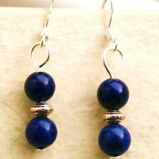 Gemstone Earrings with Sterling Silver Hooks Lapis Lazuli Drop Dangle New LB126