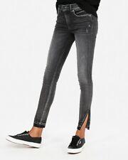 Express High Waisted distressed Denim Perfect Split Hem Ankle Leg SZ 6 Short