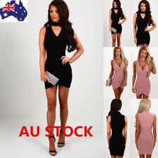 AU Women Choker V Neck Sleeveless Slim Bodycon Cocktail Evening Party Mini Dress