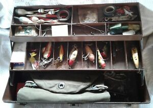 Outing Handy Boxes Elkhart, IN Tackle Box  Wooden Heddon Lures Live Catch Bag ++