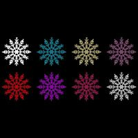 24 Pack Colourful Glitter Snowflakes Christmas Tree Hanging Pendant Decorations