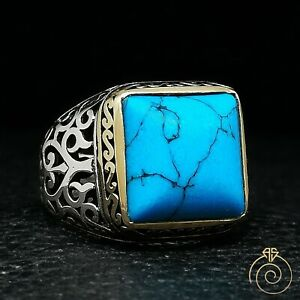 Mens Turquoise Navajo Cocktail Silver Blue Stone Square High Quarlity Cool Rings