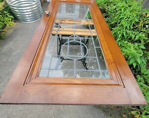 """Antique Exterior Beveled Leaded Glass Door with Original Hardware ~ '36"""" by 80"""""""