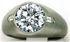 3.40 carat Round & 2 Bullet cut Diamond Solitaire Mens Ring 14k gold 3 ct center