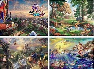 Ceaco Thomas Kinkade 4-in-1 Multi Pack Disney Puzzles (500 Piece) - Aladdin, Bea
