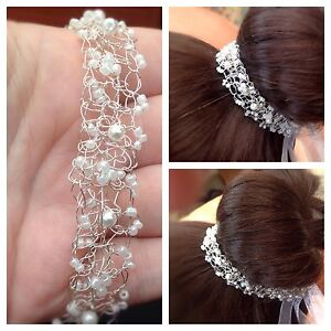Delicate Pearl Silver Wedding Bun Wrap, hair Vine, Tiara, crocheted wire lace