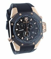 Technosport TS-100-1AV Mens Black & Rose Gold World Timer GMT Swiss Chrono Watch