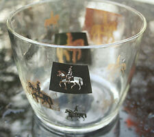 "Glass Ice Bucket Mid-Century Barware Knights on Horses Black&Gold Vintage ""Meth"""