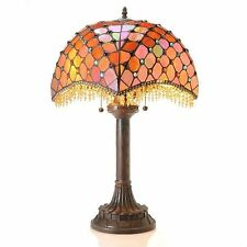 """Table Lamp Red Tiffany Style Stained Glass Shade Amber Beaded Accents 26"""" High"""