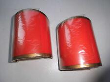 2 Stück Lampenschirm Aufsteckschirm 11 x 9 cm Halbschale rot mit Goldrand