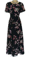 Karen Millen Long Floral Floaty Sheer Sleeve Lace Trim Dress UK size 10 DS255