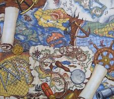 Discover Ocean Sea Nautical Navigation Telescope Fabric Sewing Quilting Craft FQ