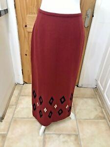 Vintage Lakeland Wool Blend Fully Lined Russet Midi Maxi Pencil Skirt UK 12 10?