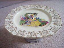 Antique Royal Falcon ware England porcelain plate-dish on metal stand