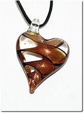 Collier pendentif coeur verre style murano bijou cadeau mode soir lampwork or