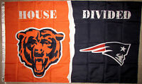 CHICAGO BEARS vs NEW ENGLAND PATRIOTS HOUSE DIVIDED 3x5 FEET NFL FLAG BANNER NEW