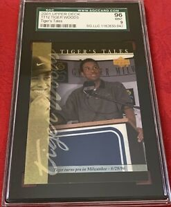 2001 Upper Deck TT12 Tiger Woods Turns Pro 8/29/96 Card Grade 9