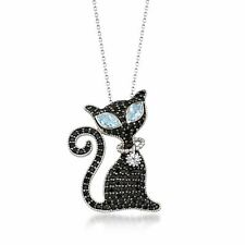 Ross-Simons Black Spinel & Blue & White Topaz Cat Pin Necklace in Sterling