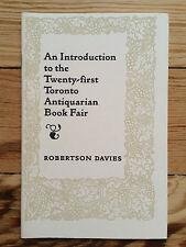 Robertson Davies, 21st Toronto Antiquarian Book Fair 1993 literature Coach House