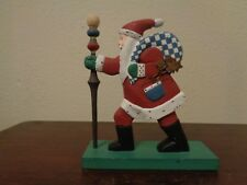 """Midwest Of Cannon Falls Wooden Old World Santa With Walking Stick 9"""" Figurine"""