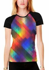Abstract Colour Squares Women's All Over Graphic Contrast Baseball T Shirt