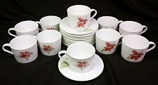 10 Cups & Saucers Watercolors Block Spal Poinsettia Geortzen 1982