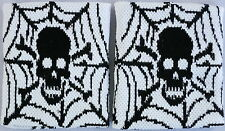 Pair of Spider Web Skull White Wrist Sweatbands Wristbands Exercise Running MMA