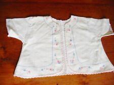 Vintage Infant Baby Doll Soft Flannel Hand Embroidered Jacket Blue Trim