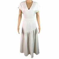 ZARA Women's Size Small Striped Cap Sleeved V Neck Ruffle Maxi Dress