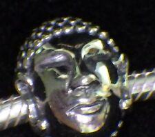925 STERLING SILVER UNBRANDED BARREL BUDDHA HEAD EUROPEAN BEAD CHARM