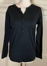 Women's Ibex Odyssey Henley Light Sweater Sz Xs Black Merino Wool Blend L/S Top