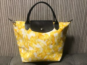 Authentic Longchamp Darshan Floral Small Yellow Tote
