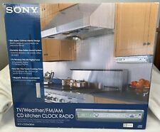 Sony ICF-CD543RM Kitchen Clock Radio Under Cabinet TV Weather FM AM CD w/ Remote