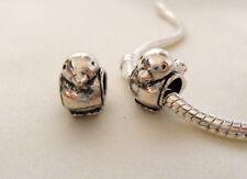Cute Silver Bird Bead Charm Fits European Bracelets UK