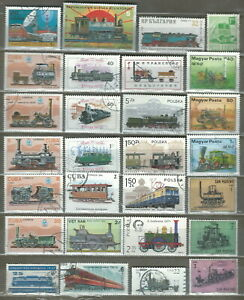 TRAINS & LOCOMOTIVES 29 PICTORIAL STAMPS LOT COLLECTION (05)