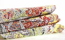 Indian Boho Yellow Paisley 100% Cotton Dress Making Quilting Fabric By The Metre