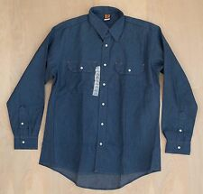 vtg NOS USA made BIG BEN wrangler Denim Pearl Snap work Shirt Blue Size L