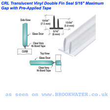 Sello de ducha ducha auto-adhesivo TWIN fin 7.5mm 5.9mm fácil de arreglar, adhieren a la pared 1.20M de largo