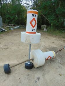 Large Float Collar Can Buoy Thin Ice - Slow No Wake, Channel, Information Buoys