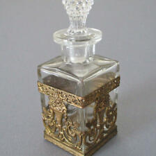 Antique French Perfume Glass Bottle GILT Ormolu Basket URNS of ROSES + Scrolls