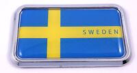 """Sweden Swedish rectangular Chrome Emblem 3D Car Decal Sticker 3""""x1.75"""""""