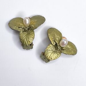 Designer Michael Michaud For Silver Seasons Water Lily Earrings Clip