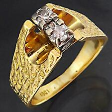 Hand Made Vintage 60's Solid 18k Yellow GOLD 2 DIAMOND BARK TEXTURE RING Sz M