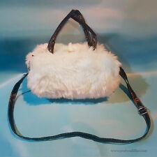 Optional Adjuastable Strap White Plush Soft Fluffy Faux Rabbit Fur Shoulder Bag